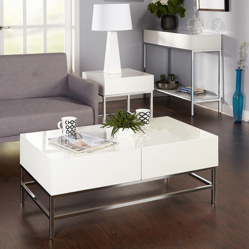 Simple Living Coffee, Console, Sofa & End Tables Simple Living White Metal High-gloss End Table