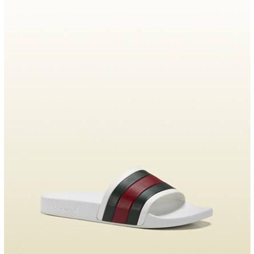 GUCCI White Rubber Slide Sandal Size 13