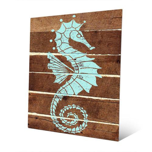 Seahorse Planks Green Metal Wall Art [option : Seahorse Planks- Green 11