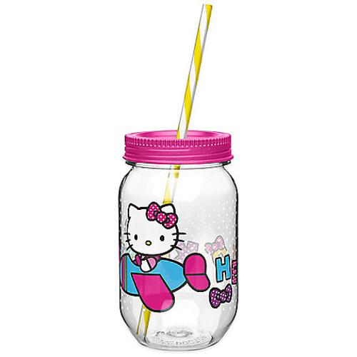 Zak! Designs Hello Kitty 19-Ounce Tritan Canning Jar Tumbler with Straw