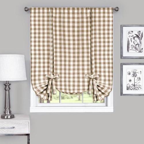 Achim 42 in. W x x 63 in. L Buffalo Taupe Cotton Window Curtain Horizontal Fabric Roman Shade