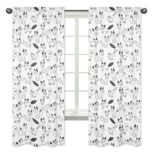 Sweet Jojo Designs Fox Print 84-Inch Window Panels in Black/White (Set of 2)