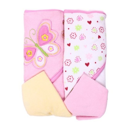 Spasilk Hooded Terry Bath Towel with Washcloths, Butterfly Pink, 2-Count [Pink Butterfly]