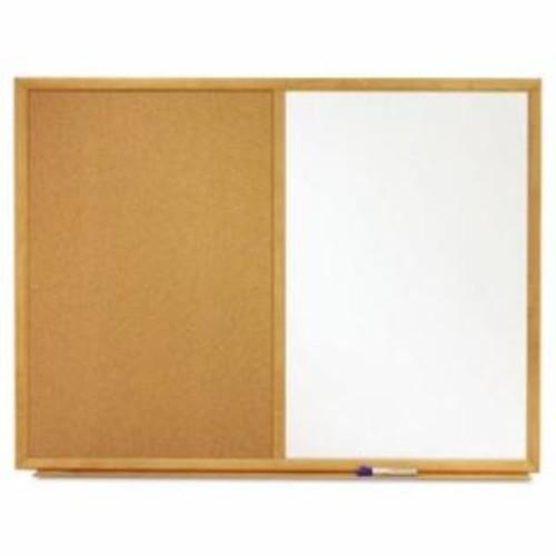 Quartet Bulletin/Dry-Erase Board, Melamine/Cork, 48 x 36, White/Brown, Oak Finish Frame per EA