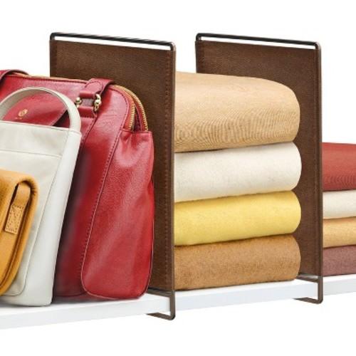 Lynk Vela Shelf Dividers, Closet Shelf Organizer (Set of 2)- Bronze