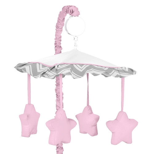 Sweet Jojo Designs Gray and Pink Zig Zag Collection Musical Mobile