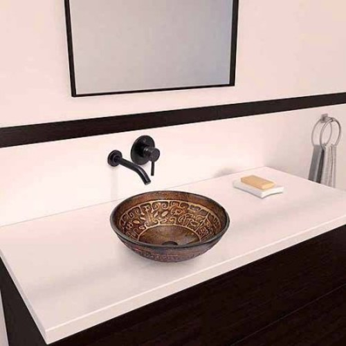 VIGO Golden Greek Glass Vessel Sink and Olus Wall Mount Faucet Set in Antique Rubbed Bronze