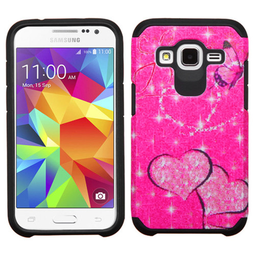 Insten Hot Pink/Black Butterfly Glittering Hard PC/ Silicone Dual Layer Hybrid Phone Case Cover For Samsung Galaxy Core Prime