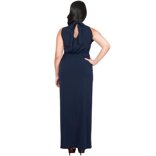 KOH KOH Women's Plus Size Sleeveless High Neck Infinity Knotted Maxi Dress