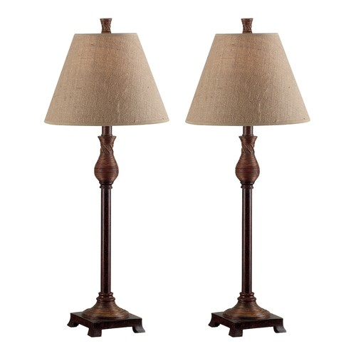 Kenroy Home Santiago 30 in. Natural Reed Buffet Lamp Set (2-Pack)