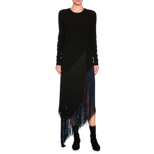 STELLA MCCARTNEY Fringe-Trim Asymmetric Midi Dress, Black