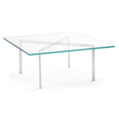 Barcelona Table [Finish : Polished Chrome; Table Top : Clear Glass]