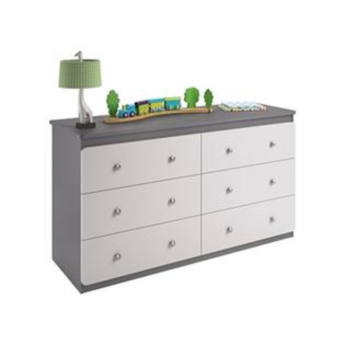 Cosco Products Willow Lake 6-Drawer Dresser, Light Slate Gray/White Stipple
