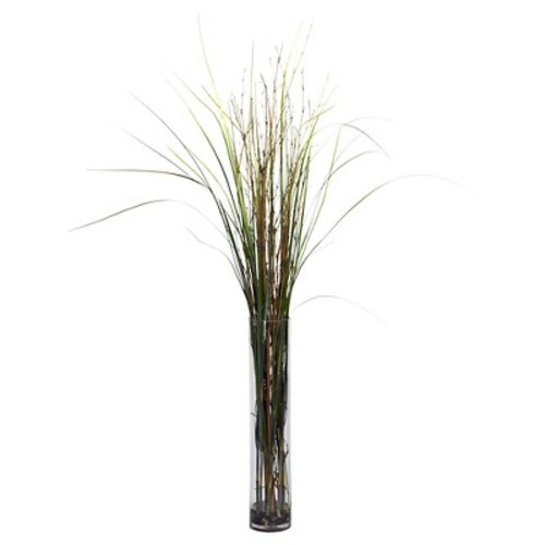 47 in. H Green Grass and Bamboo with Cylinder Silk Plant
