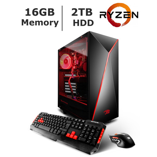 iBUYPOWER Gaming Desktop, AMD Ryzen 3 1300x Processor, 16GB Memory, 2TB HDD, 2GB Graphics