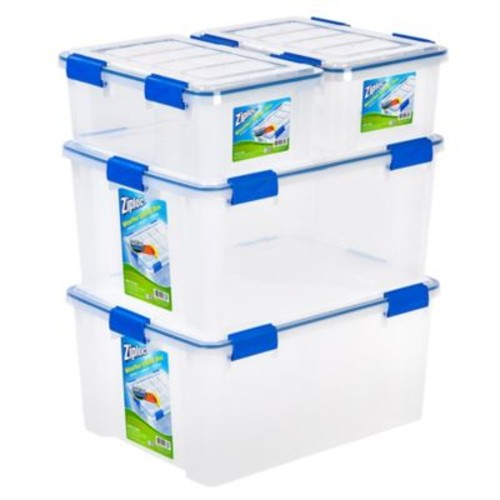 Ziploc WeatherShield 16 qt. and 60 qt. Storage Boxes in Clear (Set of 4)