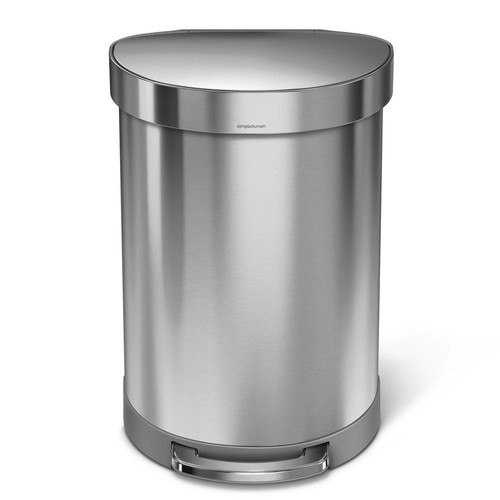 simplehuman 60-Liter Fingerprint-Proof Brushed Stainless Steel Semi-Round Liner Rim Step-On Trash Can