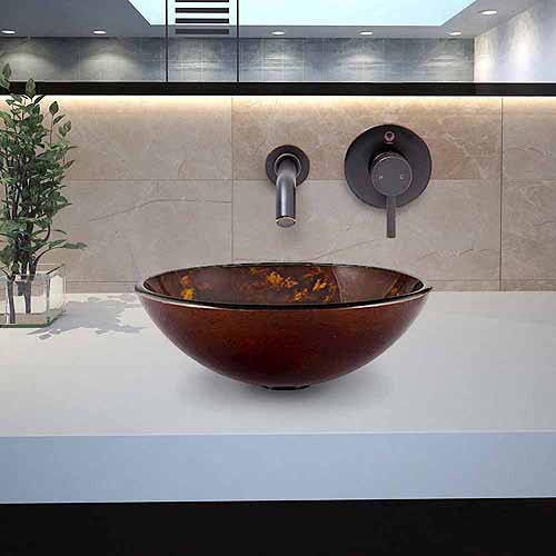 VIGO Brown and Gold Fusion Glass Vessel Sink and Olus Wall Mount Faucet Set in Antique Rubbed Bronze