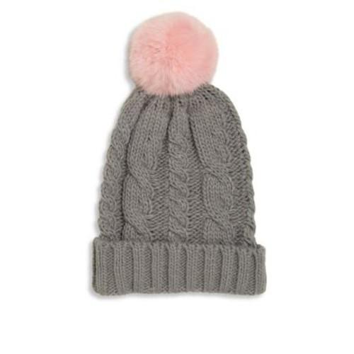 Surell - Girl's Rabbit Fur Pom-Pom Cable-Knit Hat