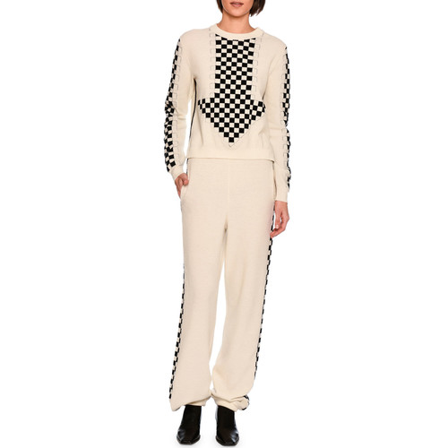STELLA MCCARTNEY Oversized Arrow Checkerboard Sweater, White/Black