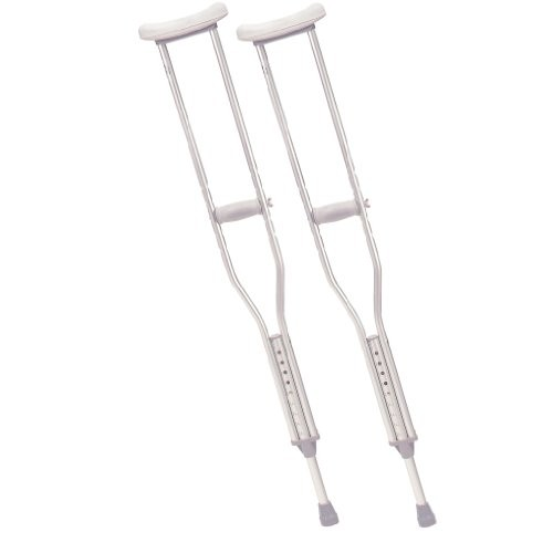 Drive Medical Aluminum Crutch with Comfortable Underarm Pad and Handgrip, Gray, Adult [Adult]
