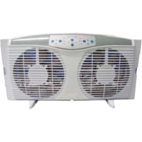Optimus F-5286 8-Inch Reversible Twin Window Fan with Thermostat and LED, White