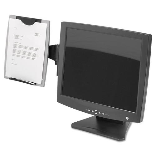 Fellowes FELice Suites Monitor Mount Copyholder, Plastic, Holds 150 Sheets, Black/Silver