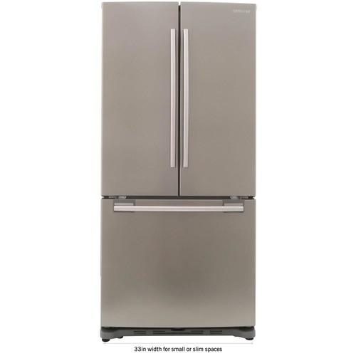 Samsung 33 in. W 17.5 cu. ft. French Door Refrigerator in Platinum, Counter Depth