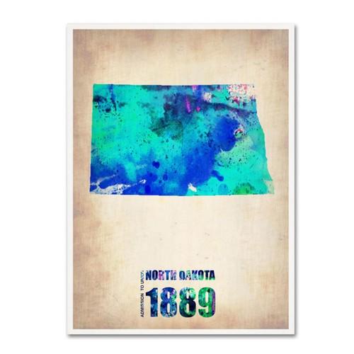 Trademark Fine Art 'North Dakota Watercolor Map' 18