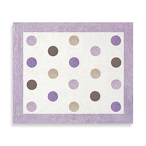 Sweet Jojo Designs Mod Dots Floor Rug in Purple/Chocolate
