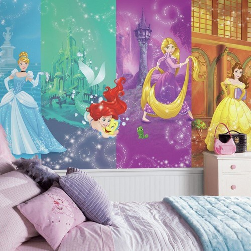 RoomMates 72 in. W x 126 in. H Disney Princess Scenes XL Chair Rail 7-Panel Prepasted Wall Mural