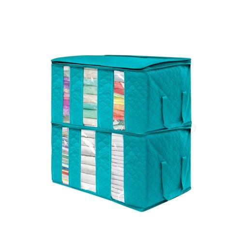 Foldable Storage Bag Organizer - Pack of 2 - Aqua