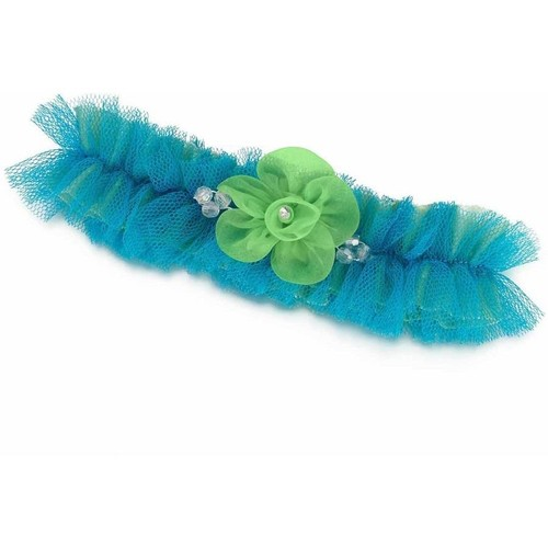 Blue and Green Tulle Bridal Garter