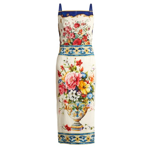 Majolica-print square-neck charmeuse dress