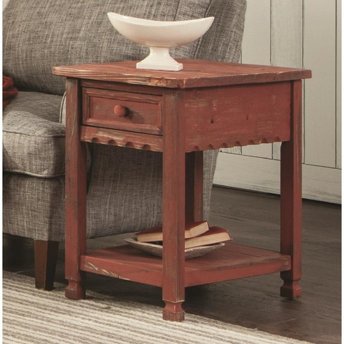Alaterre Furniture Country Cottage Red Antique Chairside Table