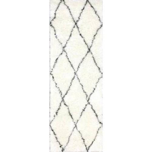 nuLOOM Marrakech Shag Ivory 3 ft. x 10 ft. Runner Rug