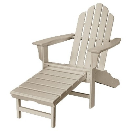 All-Weather Contoured Adirondack Chair with Hideaway Ottoman- Gray - Hanover