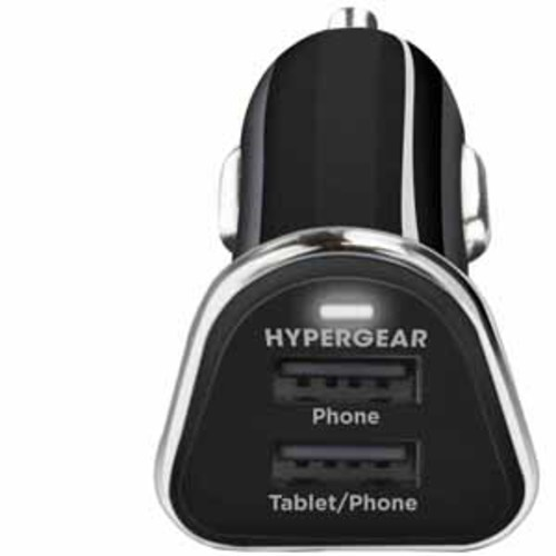 Hypergear High-Power Dual USB Car Charger - Black
