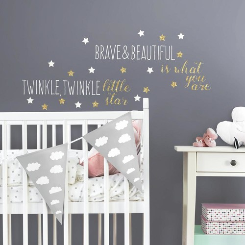 RoomMates 5 in. x 11.5 in. Twinkle Twinkle Little Star Quote 29-Piece Peel and Stick Wall Decals with Glitter