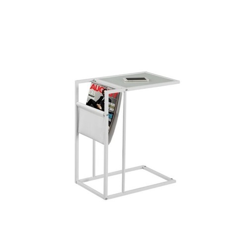 Monarch Metal Side Table with Magazine Rack in White