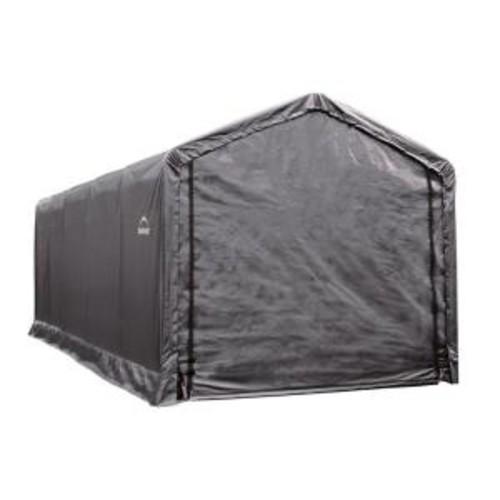 ShelterLogic ShelterTube 12 ft. x 25 ft. x 11 ft. Grey Steel and Polyethylene Garage without Floor