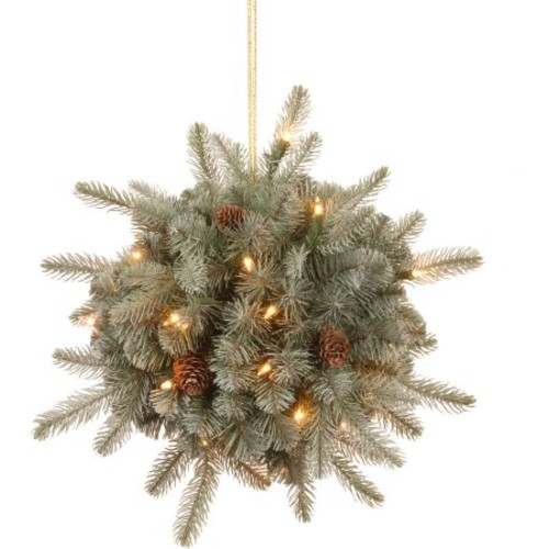 12 inch Frosted Arctic Spruce Kissing Ball with Battery Operated Warm White LED Lights