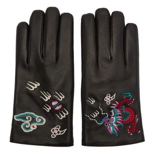 GUCCI Black Leather Dragon Gloves