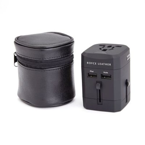 Royce Leather International Travel Adapter Genuine Leather Case
