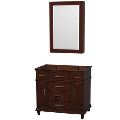 Wyndham Collection Berkeley 36 in. Vanity with Medicine Cabinet in Dark Chestnut