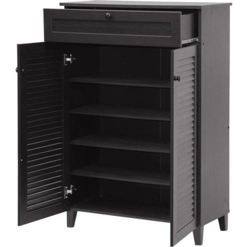 Baxton Studios - Harding Espresso Shoe-Storage Cabinet - Multi