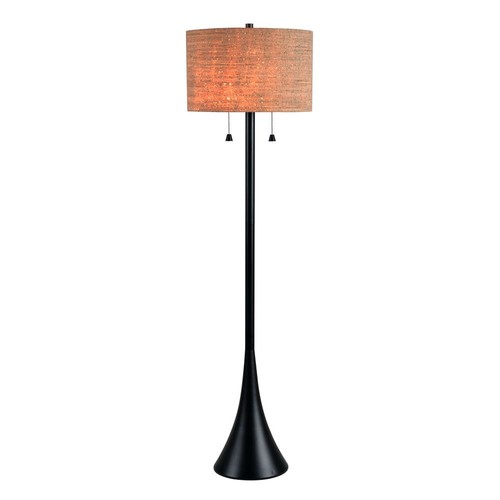 Kenroy Home Bulletin 59 in. Oil Rubbed Bronze Floor Lamp with Cork Shade