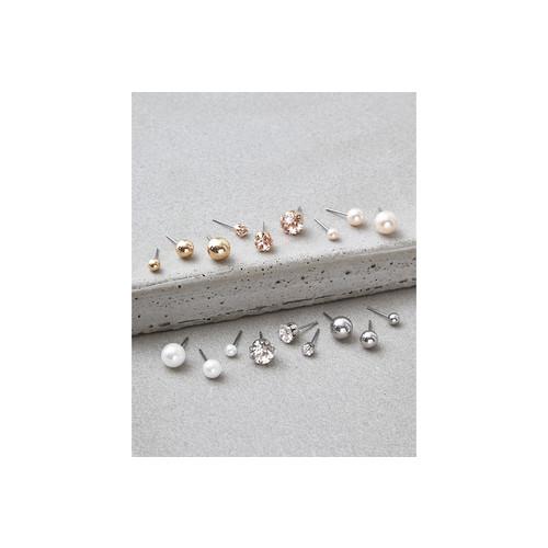 AEO Crystal & Pearl Studs Earrings 18-Pack