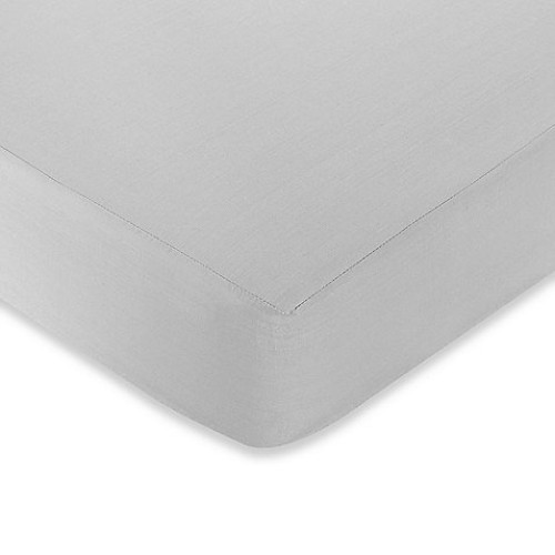 Sweet Jojo Designs Hotel Fitted Crib Sheet in White/Grey