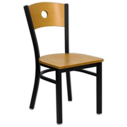 Flash Furniture Circle Back Black Metal and Natural Wood Chair